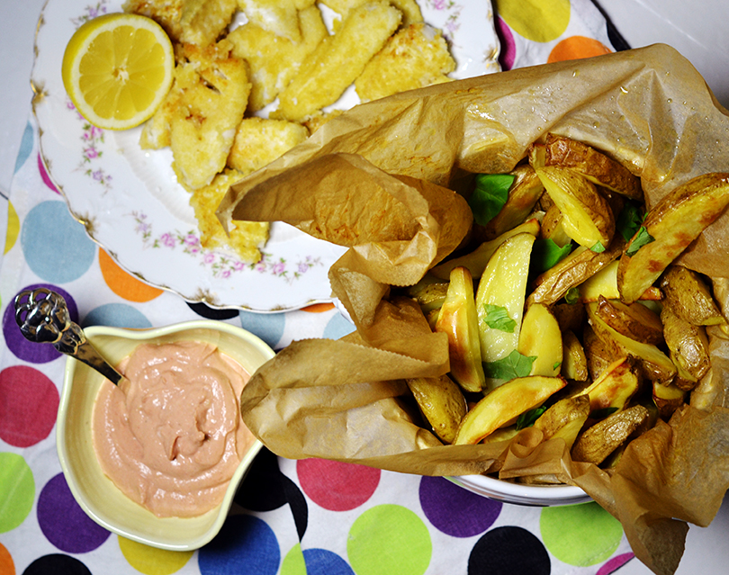 Fish and chips med ricottadip