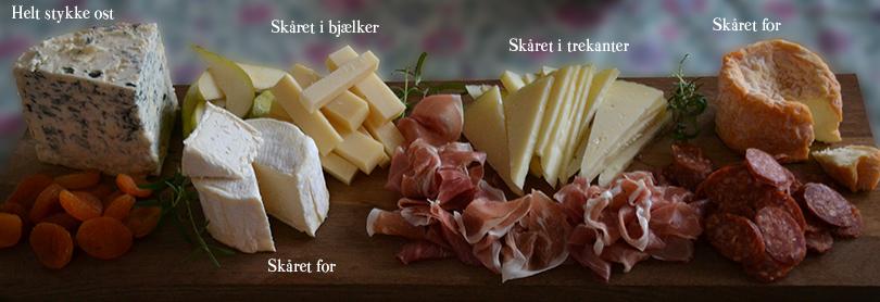 Skær ostene forskelligt ud