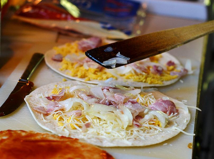 Tortillas med cheddar og emmental