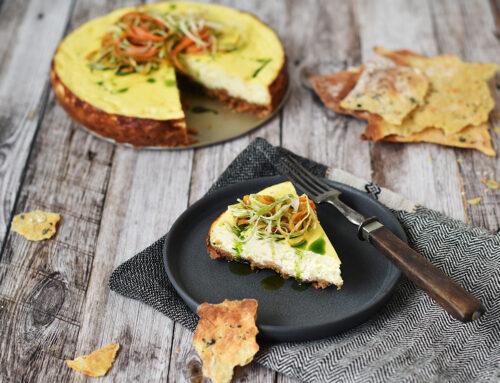 Osterejsen: Cheddar cheesecake med syltet grønt